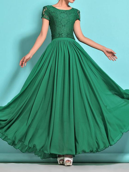 Elegant Solid Color Chiffon Short Sleeve Maxi Party Dress