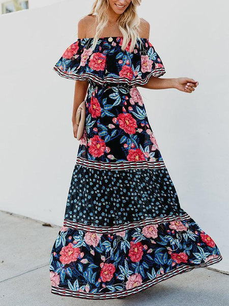 a5d15068837 Floral Off Shoulder Beach Maxi Dress ...