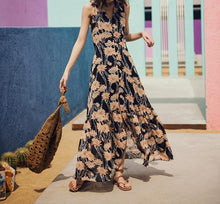 VINTAGE CHIFFON V-NECK SLEEVELESS FLORAL MAXI DRESS