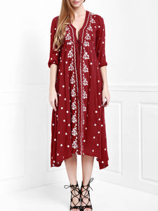 9 Colors Bohemian embroidered V-neck waist dress