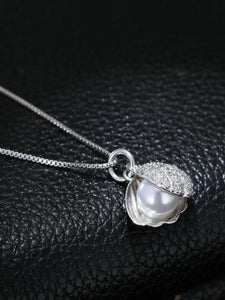 Shell Pearl Necklace 925 Sterling Silver Clavicle Chain Pendant Necklace