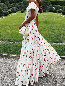 Sexy Off-the-shoulder Tube Top Print Maxi Dress