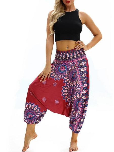 Printed Loose Wide Leg Casual Beamed Bloomers Pants