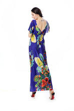 Printed V Neck Short Sleeve Summer Bohemia Maxi Dress