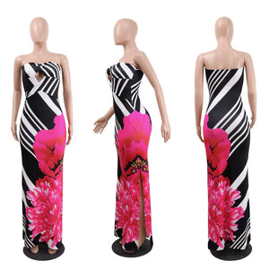 Sexy Printed Strapless Blackless Side Split Bodycon Maxi Long Dress