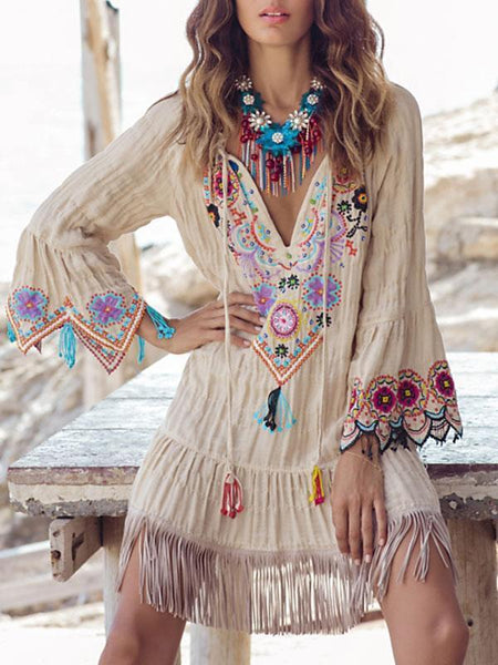 Embroidered Flared Sleeves Tassel Mini Dress