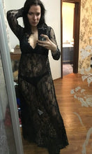 Sexy Lace Hollow Deep V Neck Long Sleeve Maxi Long Dress