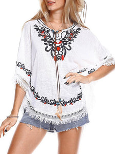 Floral Tassel Loose Casual Cape T Shirt Tops Blouse