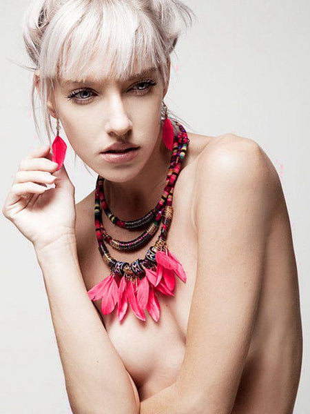 Multilayer Alloy Feather Tassel Necklace Earrings Set