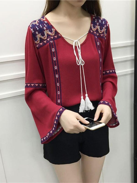 Retro Embroidered Printed Flared Sleeve T-Shirt Tops