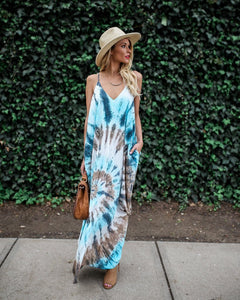 Spaghetti Strap Print Beach Maxi Dress