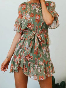 Printed Short Sleeve Belted Short Mini Dress