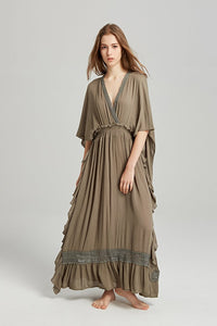 BOHO DEEP-V HIGH-WAISTED BACKLESS LONG DRESS