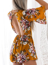 Floral Print Half Sleeve High Waist Jumpsuit Rompers