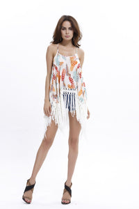 Printed Leaf Beach Tassel Mini Dress