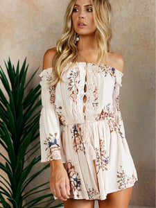 Sexy Off Shoulder Long Sleeve Floral Print Boho Rompers