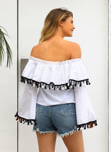 Off Shoulder Long Sleeve Tassel Tops T Shirt