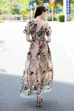Elegant Embroidered Round Neck Short Sleeve Maxi Dress