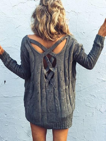Knit Long Sleeve Hollow Loose Sweater