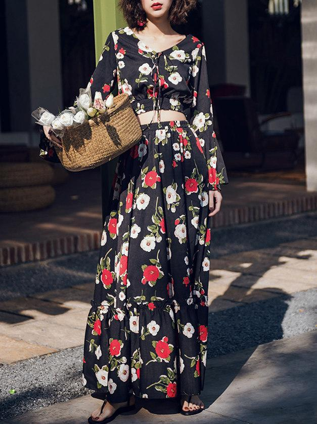 Floral Print Flare Sleeve Crop Top High Waist Maxi Skirt Two Pieces Set