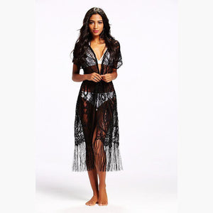 Sexy Lace Short Sleeve Tassel Beach Bikini Cover Up