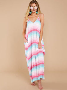 New 2018 Spaghetti Strap Beach Boho Maxi Dress