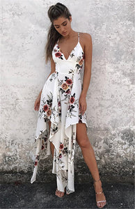 Sexy Floral Print Spaghetti Strap V Neck Backless Irregular Beach Maxi Dress