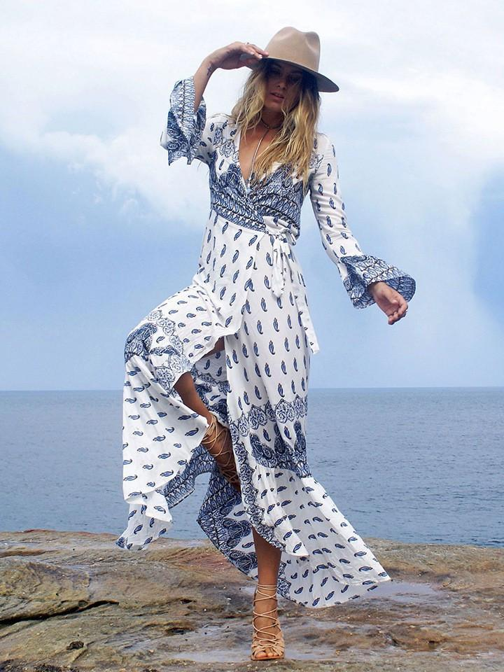 000965fc5f ... Sexy Chiffon Bohemia Floral Front Split with Tie Long Sleeve Maxi Dress  ...