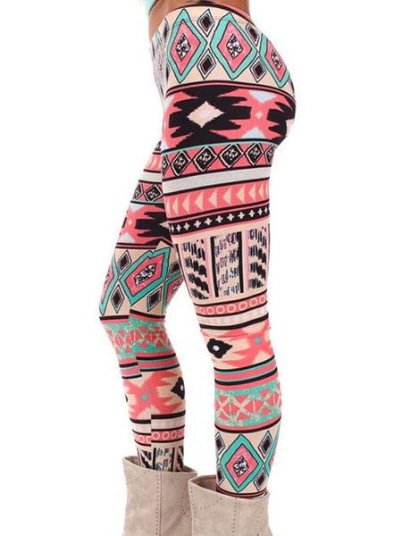 Christmas Tribal Pattern Leggings In Pink