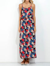 Floral Print Spaghetti Strap Backless Bohemia Maxi Dress