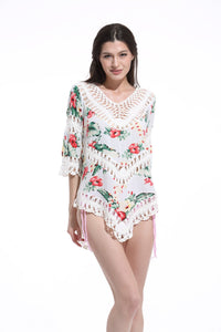 Print Lace Pullover Beach Swimwear Tops Bikini Cover Up