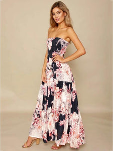 Sexy Strapless Backless Floral Print Boho Beach Maxi Dress