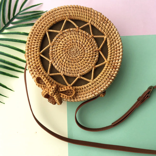 Handmade Rattan Woven Bag Round Retro Beach Handbag