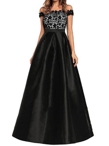 Off Shoulder Lace Splice Evening Gown Maxi Dress
