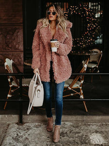 Autumn Winter Solid Color Long Sleeve Outwear Coat