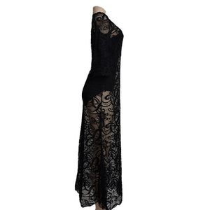2018 New Lace Long Sleeve Daily Casual Maxi Dress