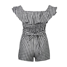Plaid Off Shoulder Ruffle Backless Belted Rompers