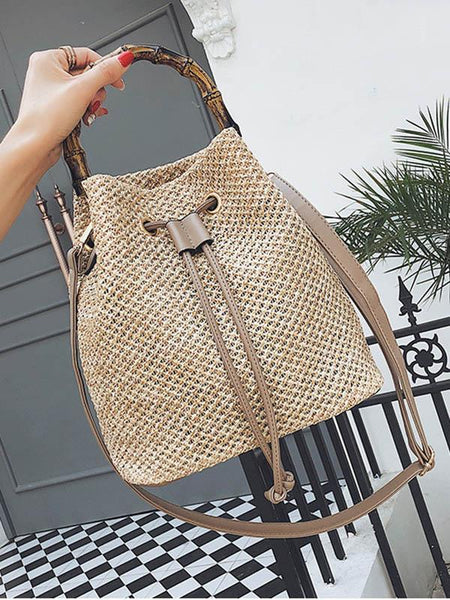 Khaki Fashion Knit Single Shoulder Bag