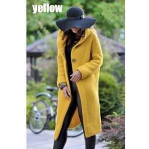 Casual Long Sleeves Knitted Hooded Cardigan Overcoat