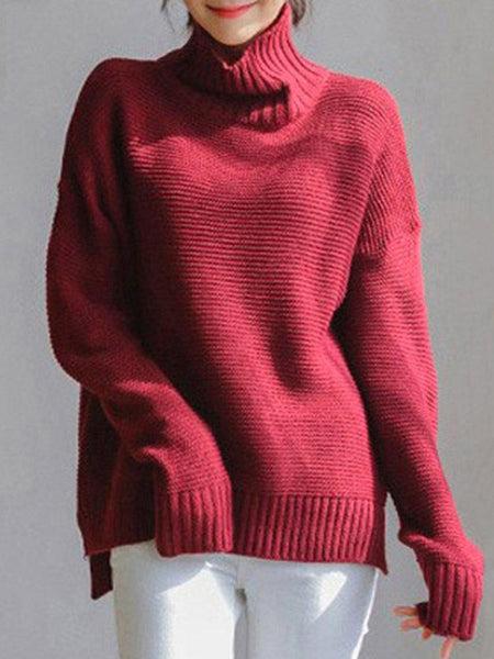 Casual Loose Solid Color Turtleneck Women Sweaters