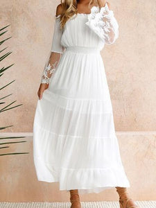 210d7fbafb White Off Shoulder Long Sleeve Beach Maxi Dress – Boholady