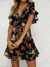 Summer Floral Print V Neck Short Sleeve Mini Dress