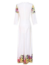 Elegant Print Round Neck Evening Maxi Long Dress