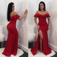 Sexy Off Shoulder Side Split Bodycon Party Maxi Dress