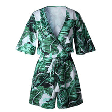 Green Leaves Tropical Floral Sleeves Fringes Bohemia Jumpsuit