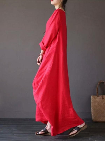 Solid Color Loose Casual Round Neck Maxi Dress