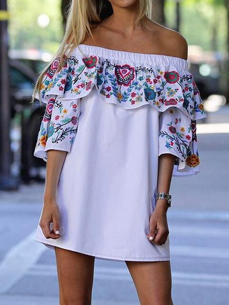 White Vintage Floral Women Ruffle Off Shoulder Mini Dress