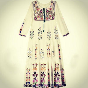 Print Long Sleeve Embroidered Bohemia Beach Maxi Dress
