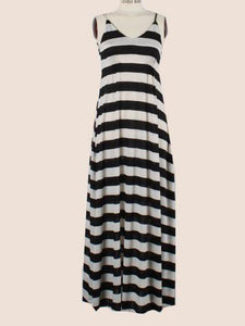 Sexy Stripe Sleeveless Bohemia Beach Maxi Dress