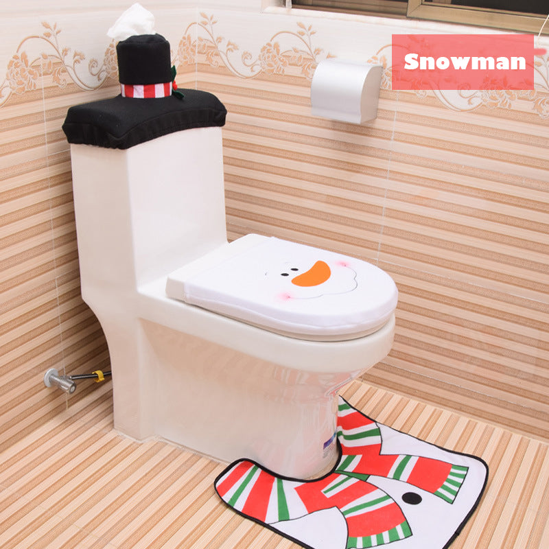 Groovy 3 Piece Snowman Santa Toilet Seat Cover And Rug Set Christmas Decorations Customarchery Wood Chair Design Ideas Customarcherynet